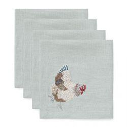 servilletas bordadas con un pollito en algodón y lino azul verdoso