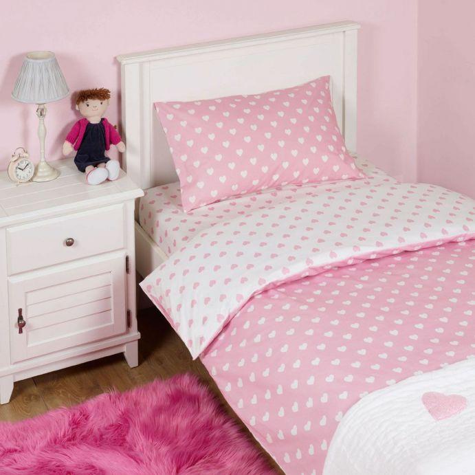 juego de cama rosa con corazones de diseño