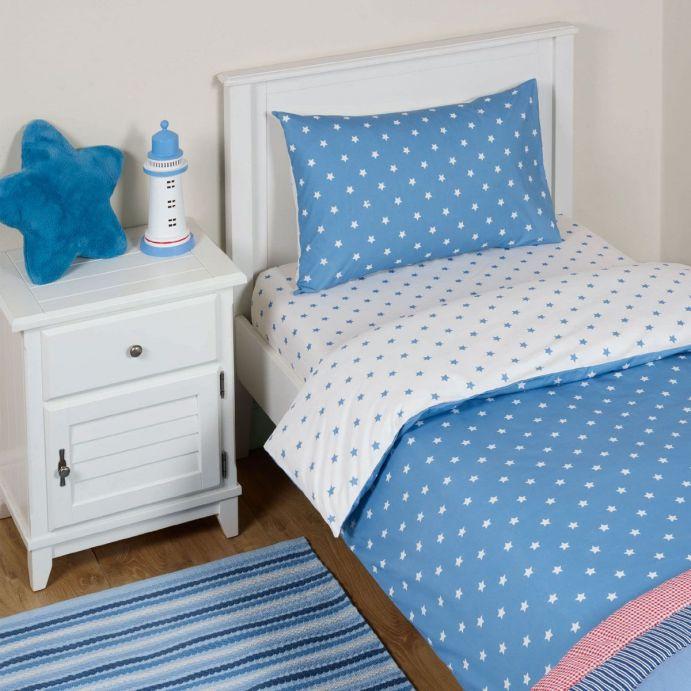 juego de cama infantil azul de estrellas de diseño