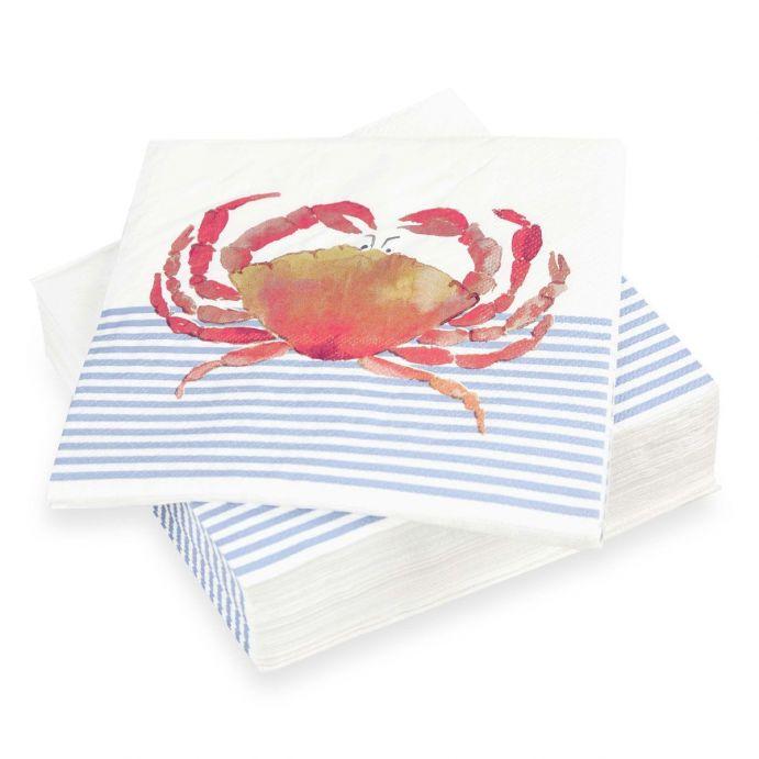 servilletas de papel con estampado de rayas marineras y crangrejo