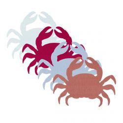 4 manteles individuales de fieltro con diseño de cangrejos de colores