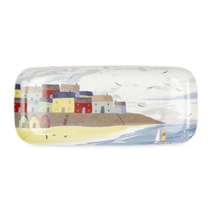 bandeja alargada de melamina con diseño de casitas de la costa de colores