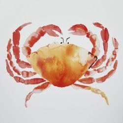 cuenco grande con cangrejo naranja, ideal para mesas de verano