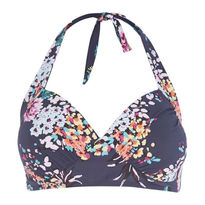 top bikini floral azul marino de diseño