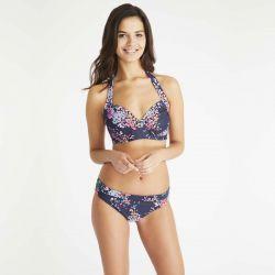 braguita bikini floral azul marino de diseño