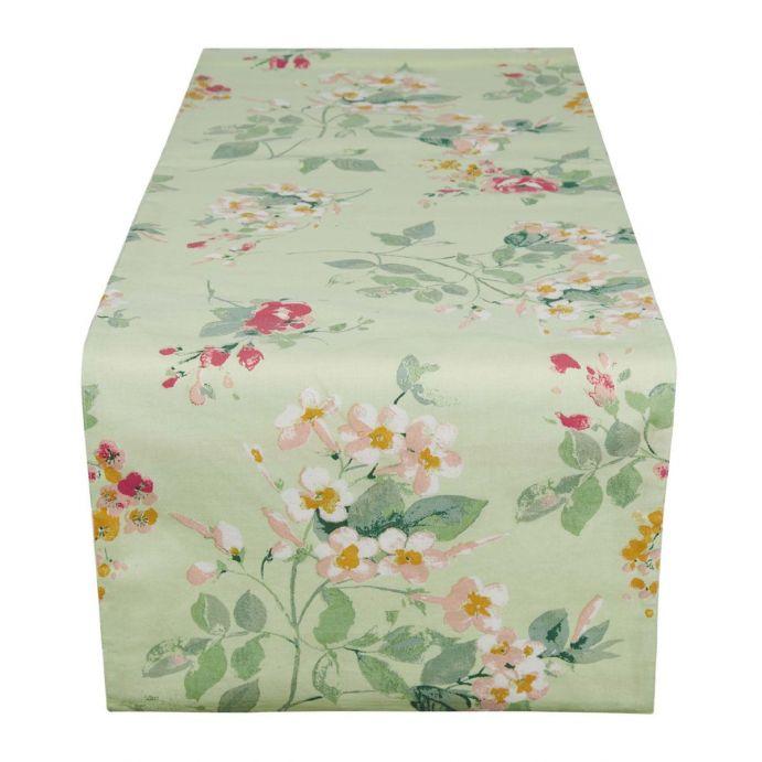 camino de mesa floral estampado con flores en color pastel de diseño