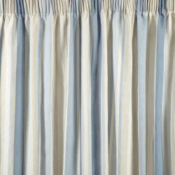 cortinas confeccionadas de rayas azules y hueso y diseño plisado de diseño