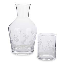 vaso y botella de cristal estampados con mariposas de diseño