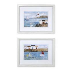2 cuadros de escenas costeras de diseño