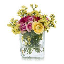 jarrón con flores artificiales en rosa y amarillo de diseño