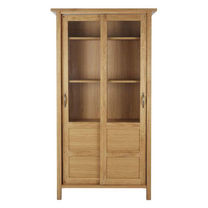 armario expositor en madera de roble con puertas correderas con cristal de diseño