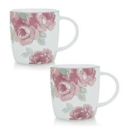 2 tazas de porcelana estampada con rosas de diseño
