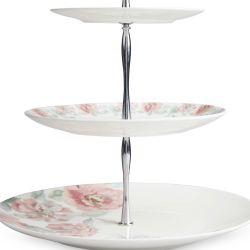 pastelero frutero de porcelana con rosas de diseño