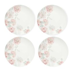 platos de postre de porcelana con rosas estampadas de diseño