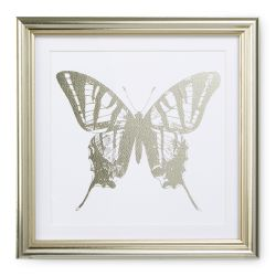 conjunto de 3 cuadros de siluetas de mariposas en color champán