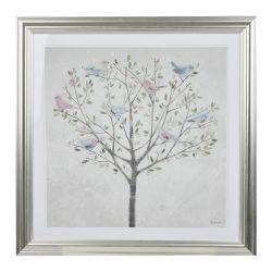 cuadro con árbol y pájaros en tonos pastel y marco plateado