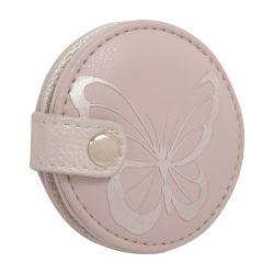 espejo de mano redondo con estampado de marioposa en rosa de diseño