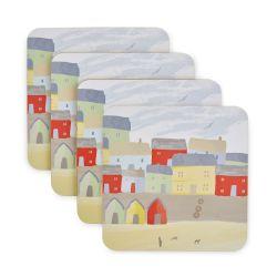 set de 4 posavasos de corcho con diseño de casitas de colores