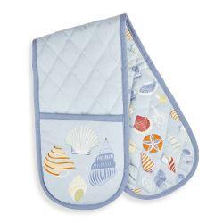 guante doble textil azul con estampado de conchas
