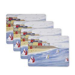 4 salvamanteles de corcho con diseño estampado de costa