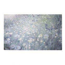 Precioso cuadro floral en tonos azules, con tara
