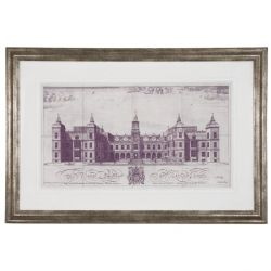 cuadro enmarcado con boceto de edificio, con taras