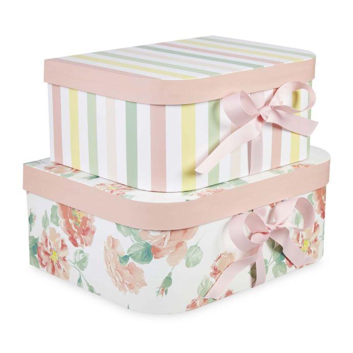 juego de 2 cajas de cartón estampado de rayas y flores de diseño