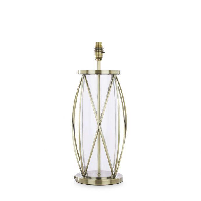 base de lámpara de diseño enjaulado en cristal y metal de acabado bronce envejecido