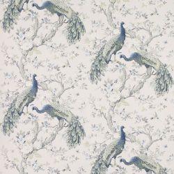 papel pintado pavos reales en azul de diseño