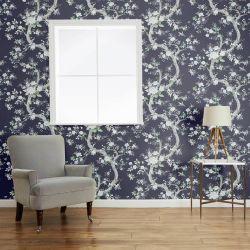 papel pintado de flores azul y blanco de diseño