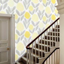 papel pintado de flores amarillas de estlo retro vintage