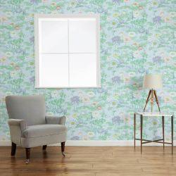 papel pintado de flores sobre fondo turquesa de diseño