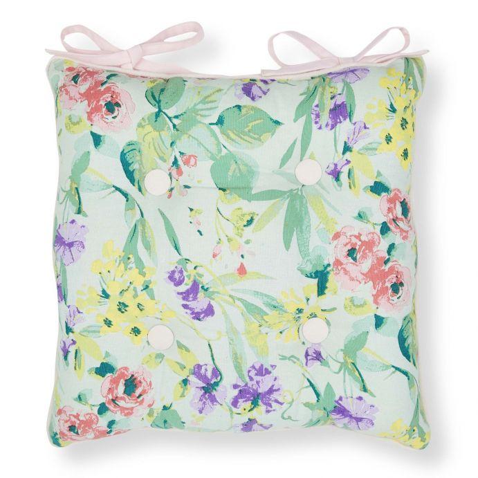 cojín para silla con diseño de flores y abotonado decorativo