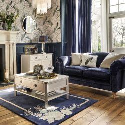 cojín con pavo real azul de abalorios estampado de diseño