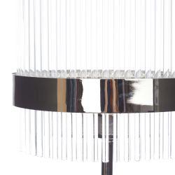 lámpara de suelo en cristal y cromo pulido de diseño moderno