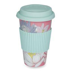 taza de café para llevar con nenúfares en rosa y azul turquesa