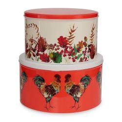 juegp de dos latas con tapa, perfecta para guardar galletas, con diseño otoñal