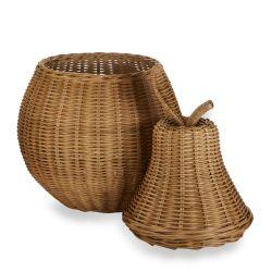 cesta de fibra de ratán natural en forma de pera, de diseño