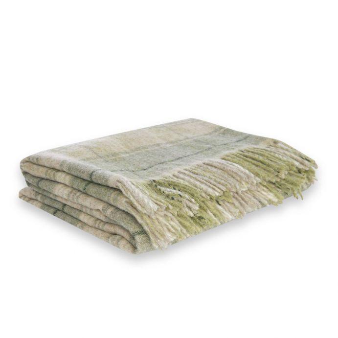 manta de lana de cuadros verdes y flecos