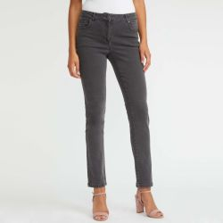 pantalón vaquero recto gris tipo jeans de diseño