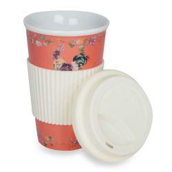 taza con tapa para llevar con gallo estampado de diseño