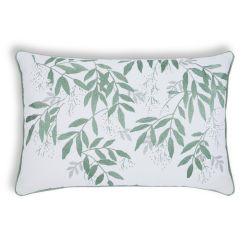 cojín verde y blanco de hojas bordadas de diseño