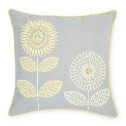cojín de diseño retro con flores en gris y amarillo