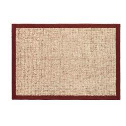 alfombra de lana color hueso con cenefa en rojo de diseño
