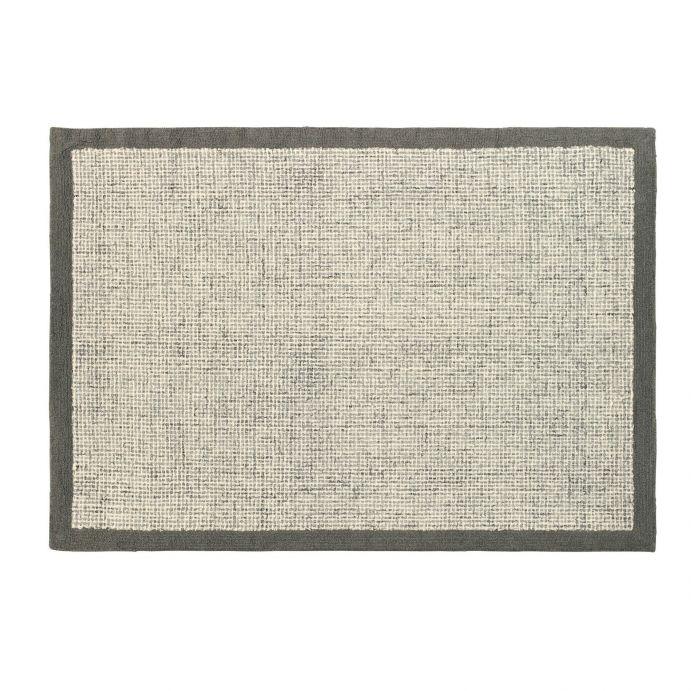 alfombra de pura lana gris con cenefa gris acero de diseño