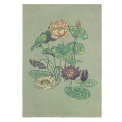 alfombra con estampado de flores de nenufar de diseño