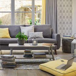 alfombra de diseño de rombos chevron en amarillo, gris y azul
