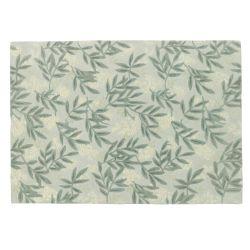 alfombra verde de lana con diseño de hojas en relieve