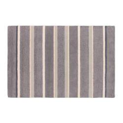 alfombra de lana de rayas en tonos morados iris de diseño