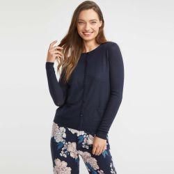 chaqueta azul marino de pura lana estilo rebeca